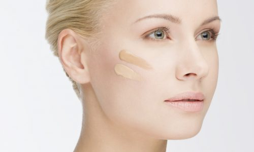 close-up face with cosmetic foundation